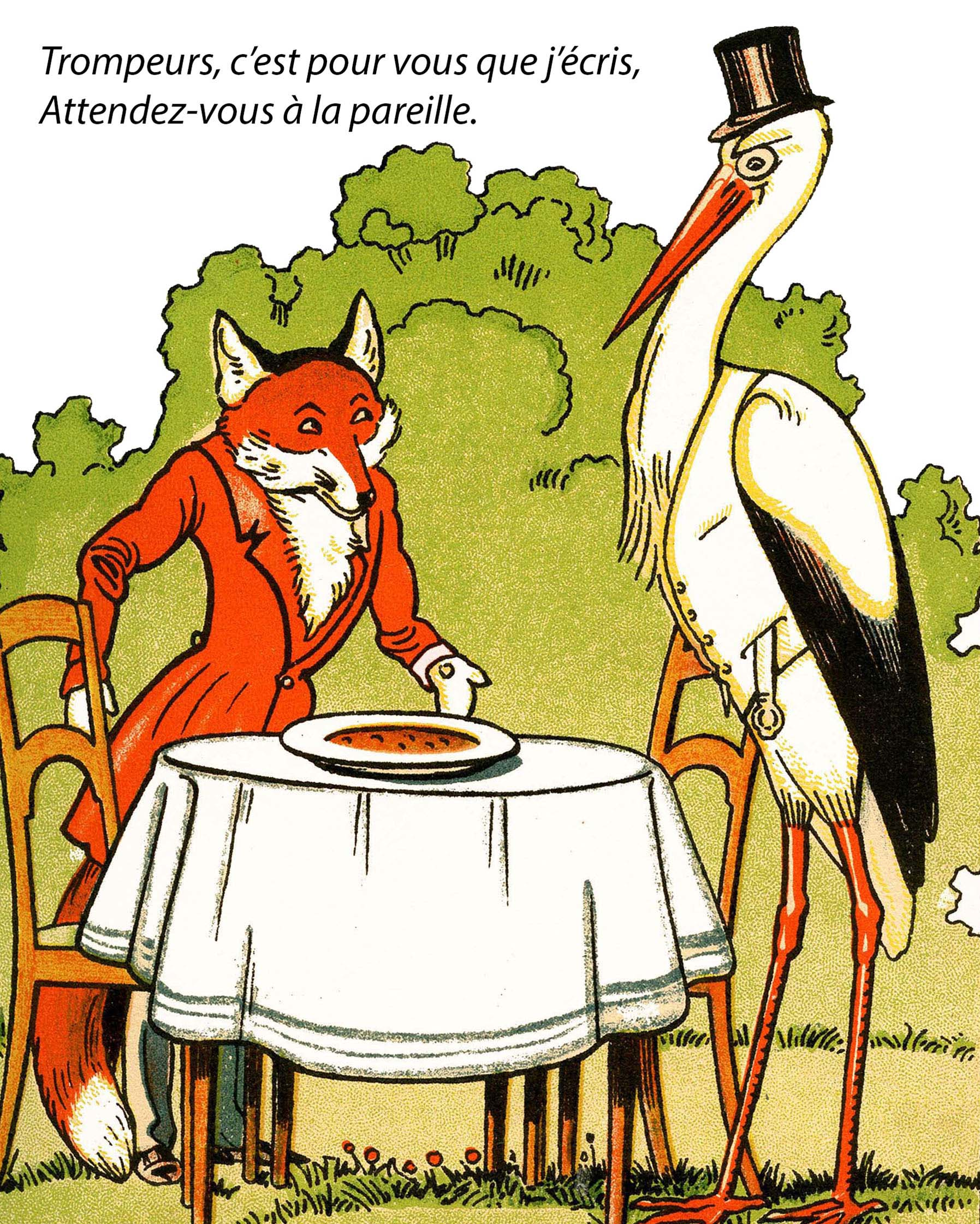 S quence 7 fables fabliaux et farces le fran ais en 6 coll ge cycle 3 - Le renard et la cigogne dessin ...