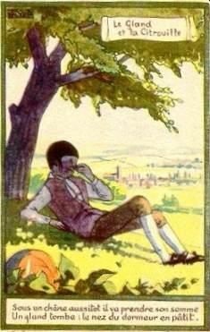 """Au dos de la carte postale : publicité """"alcool de menthe de Ricqlès"""""""